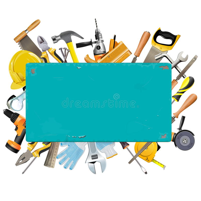 Vecteur Rusty Frame avec des instruments illustration libre de droits