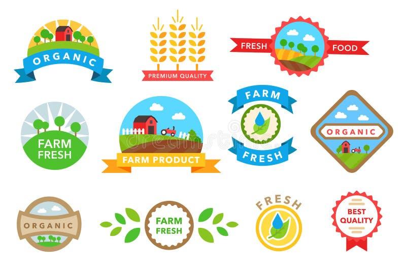Vecteur sain organique d'autocollants de nourriture illustration stock