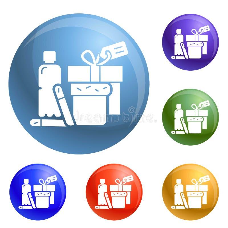 Vecteur sans abri d'ensemble d'icônes d'aide de nourriture illustration libre de droits