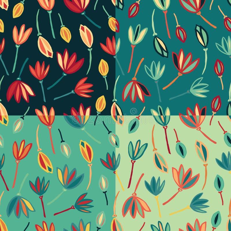 Vecteur sans couture abstrait de fond de modèle de fleur Ensemble floral de modèle de textile illustration stock