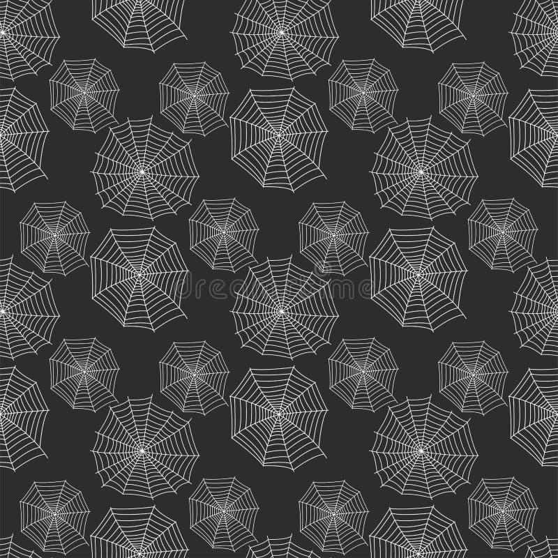 Vecteur sans couture animal effrayant plat graphique de fond de modèle de crainte d'arachnide de silhouette de toile d'araignée illustration libre de droits