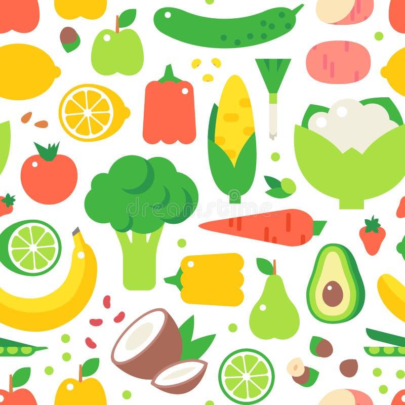 Vecteur sans couture assorti de modèle de nourriture saine de légumes illustration stock