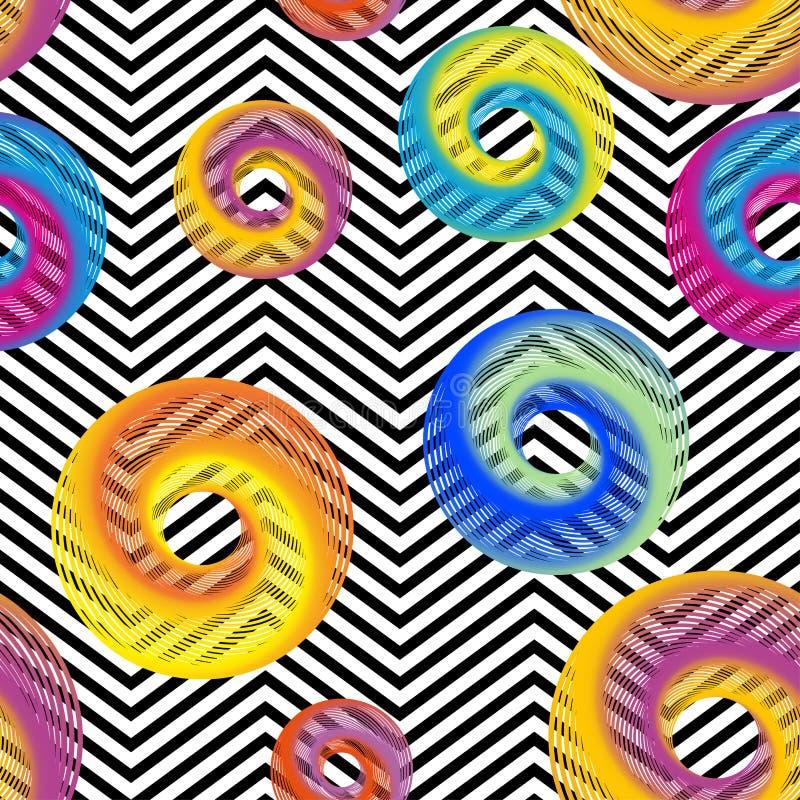 Vecteur sans couture avec la texture colorée abstraite de cercle sur les rayures noires et blanches de zigzag Fond d'or de cru illustration de vecteur