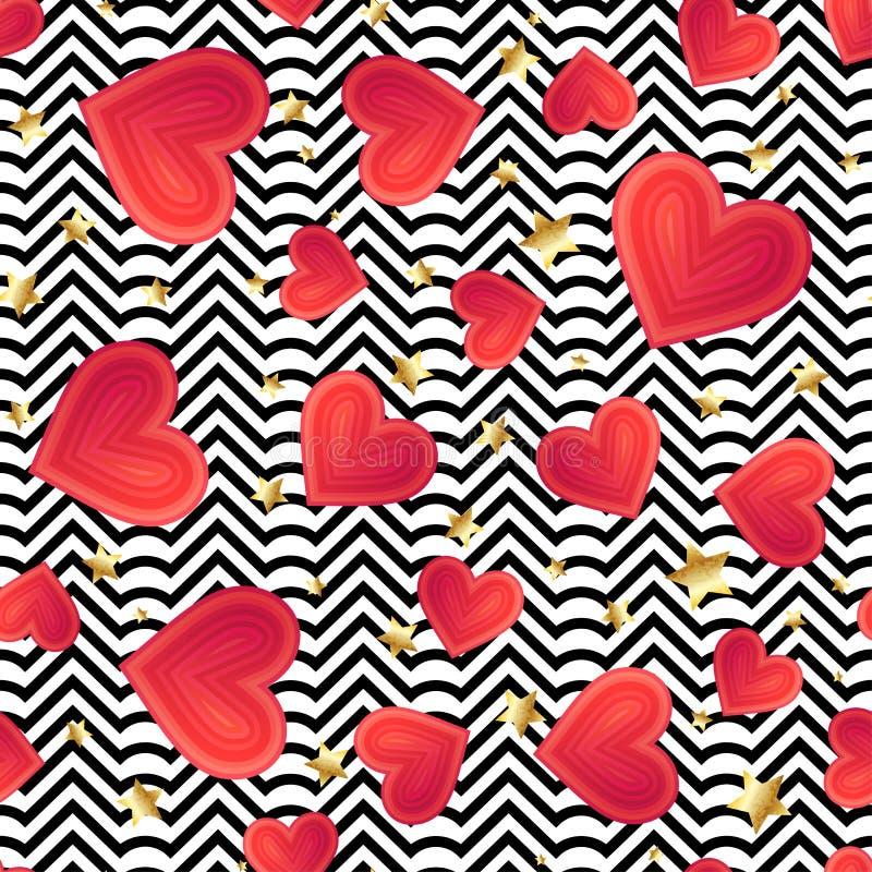 Vecteur sans couture avec la texture colorée abstraite de coeurs sur le noir a illustration libre de droits