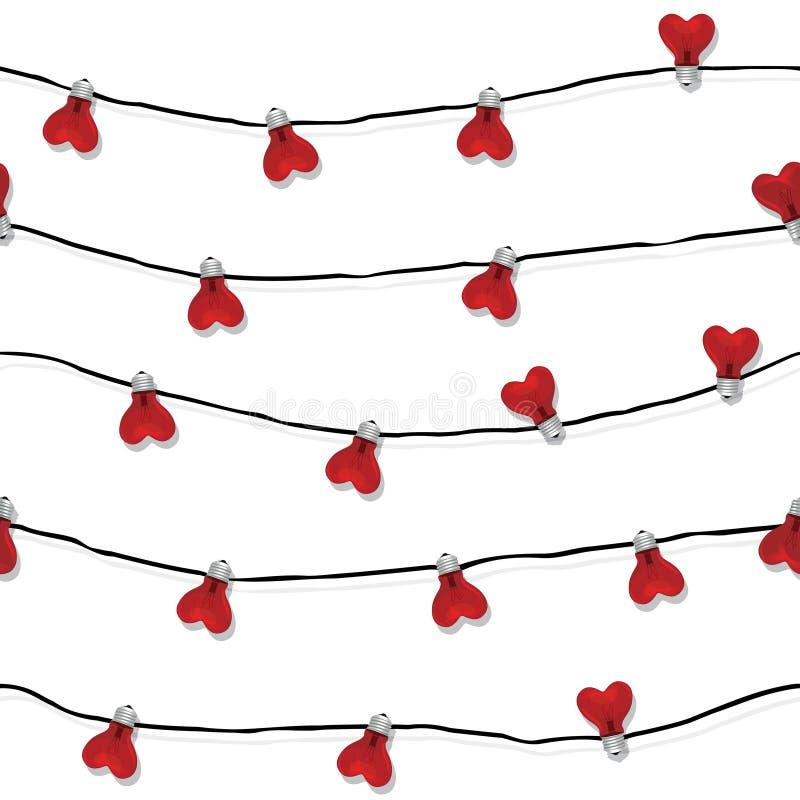 Vecteur sans couture d'ampoule d'amour de coeur illustration libre de droits