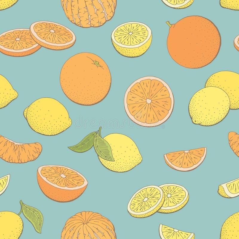 Vecteur sans couture d'illustration de croquis de fond de modèle de couleur graphique orange de fruit de citron illustration stock