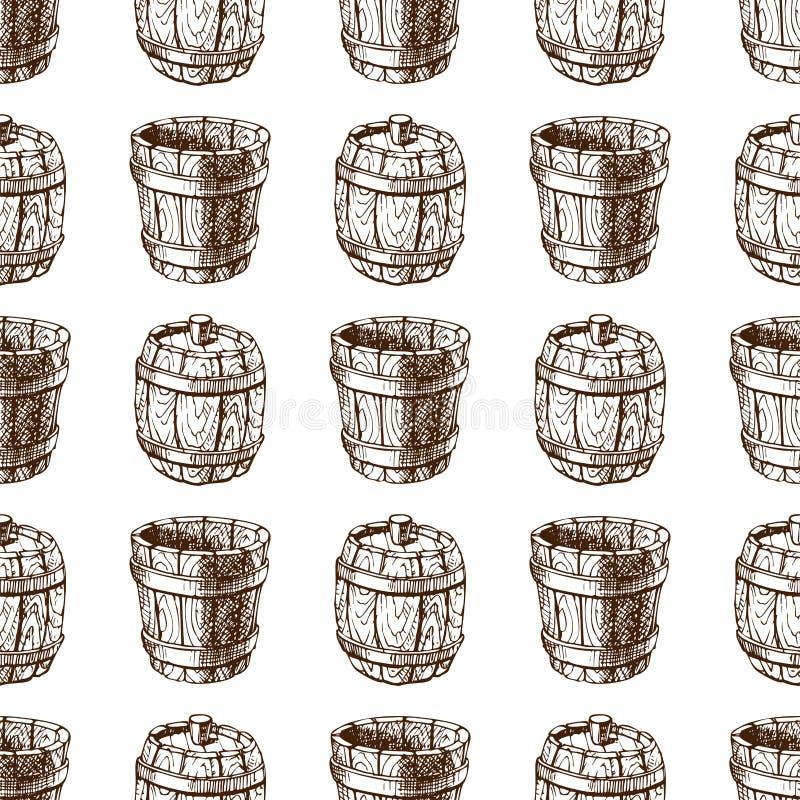 Vecteur sans couture de bière blonde allemande de tambour de cargaison de distillerie de fermentation de modèle de baril de vinta illustration libre de droits