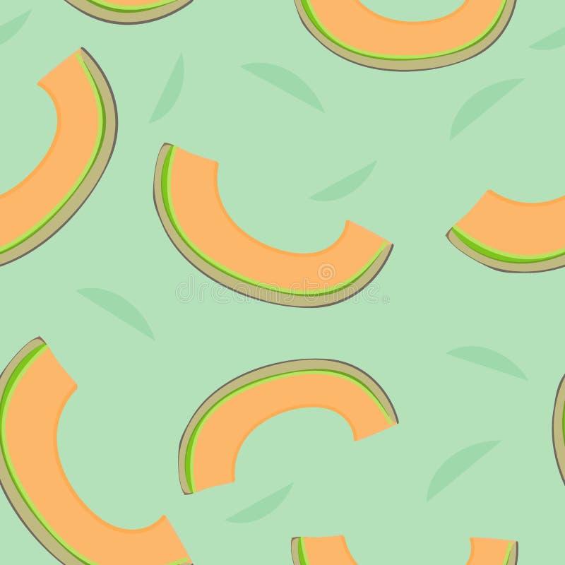 Vecteur sans couture de fond d'impression de répétition de modèle de cantaloup illustration stock