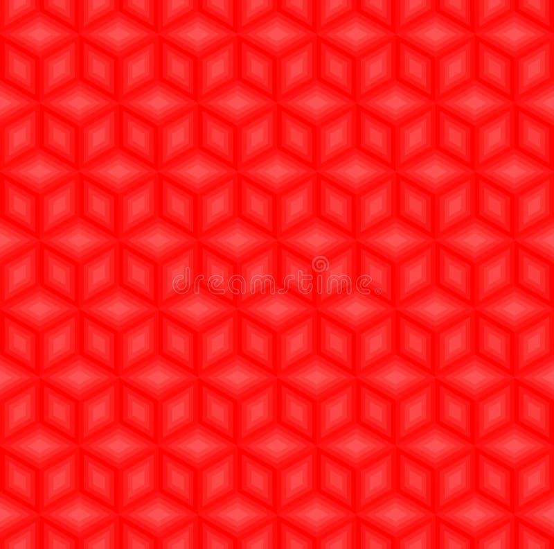 Vecteur sans couture de fond de modèle rouge de cubes illustration libre de droits