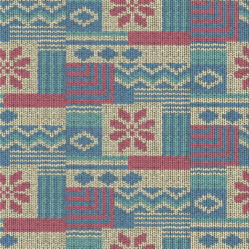 Vecteur sans couture de fond tricoté par laine illustration stock