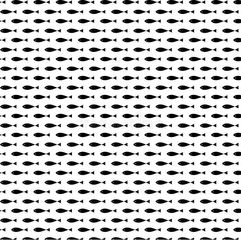 Vecteur sans couture de modèle de beaux poissons noirs illustration libre de droits