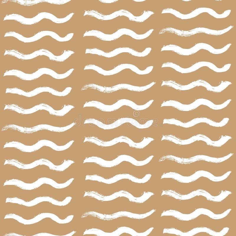 Vecteur sans couture de modèle de rayures onduleuses tirées par la main illustration stock