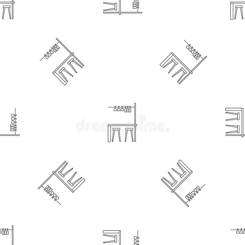 Vecteur sans couture de modèle de meubles de barre illustration libre de droits