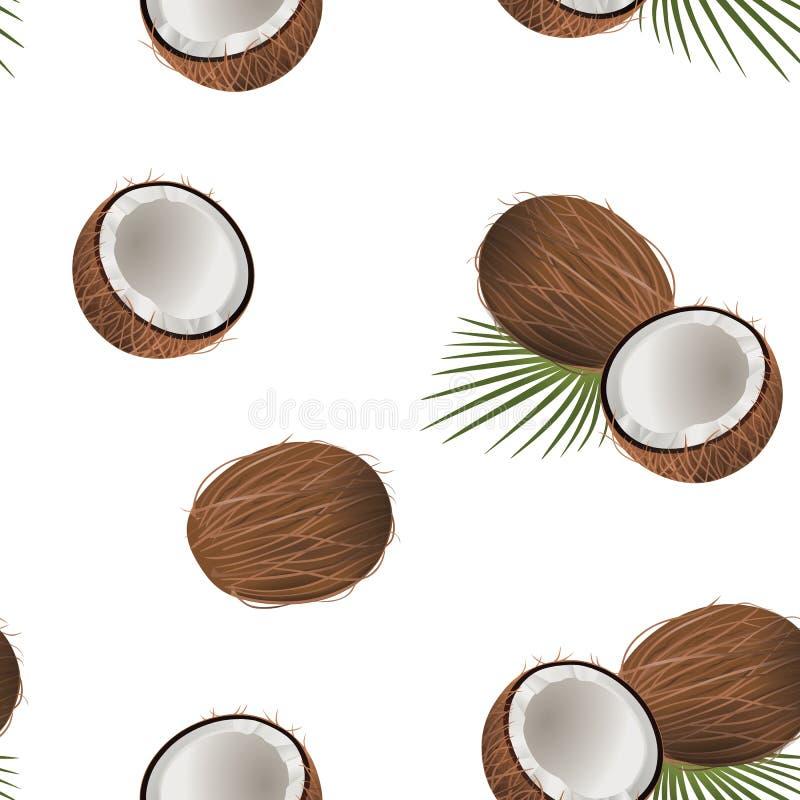 Vecteur sans couture de modèle de noix de coco illustration de vecteur