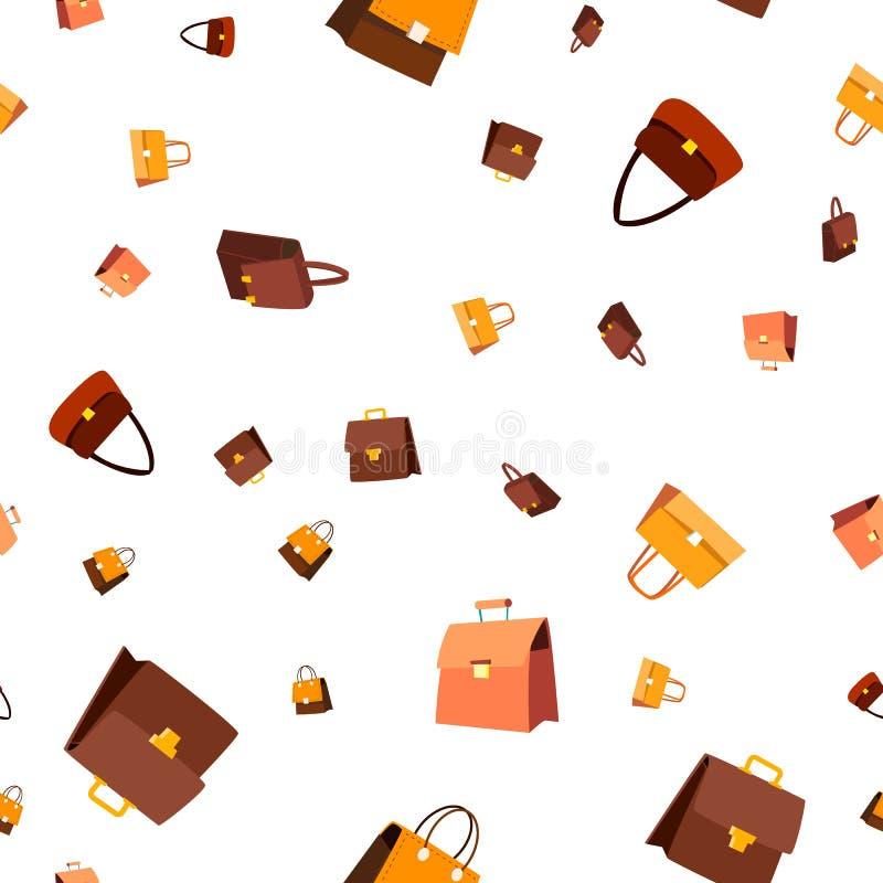 Vecteur sans couture de modèle de sac en cuir Accessoire de mode style d'élégance Texture graphique mignonne contexte de textile  illustration de vecteur