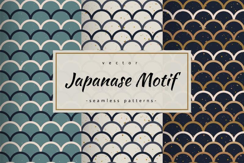 Vecteur sans couture de modèles de japanase d'échelle de poissons illustration stock