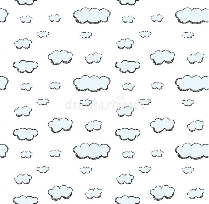 Vecteur sans couture en pastel mignon tiré par la main de modèle de nuage illustration stock