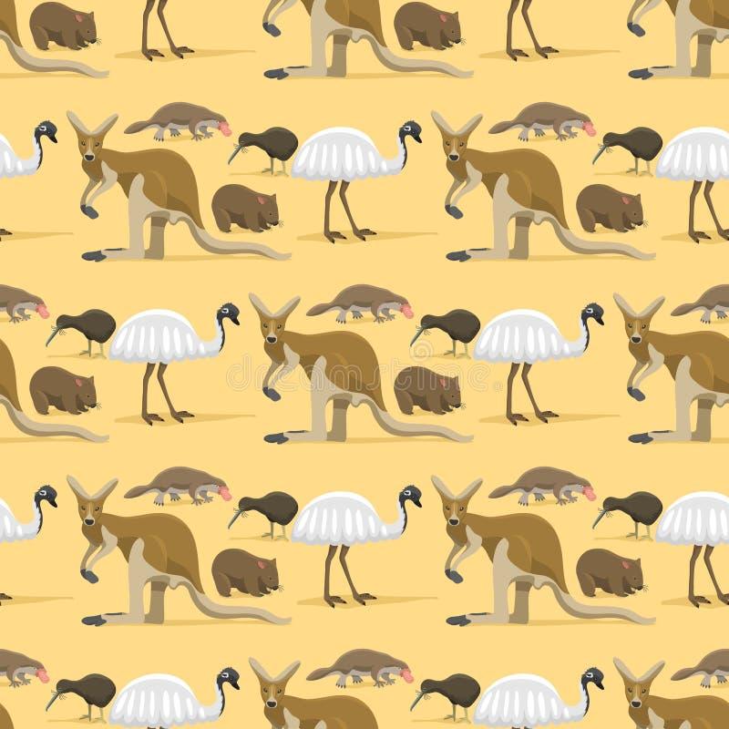 Vecteur sans couture mammifère de fond de modèle de nature de bande dessinée d'animaux sauvages d'Australie de style plat populai illustration de vecteur