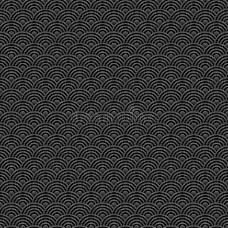 Vecteur sans couture noir et gris de Chinois de modèle illustration stock