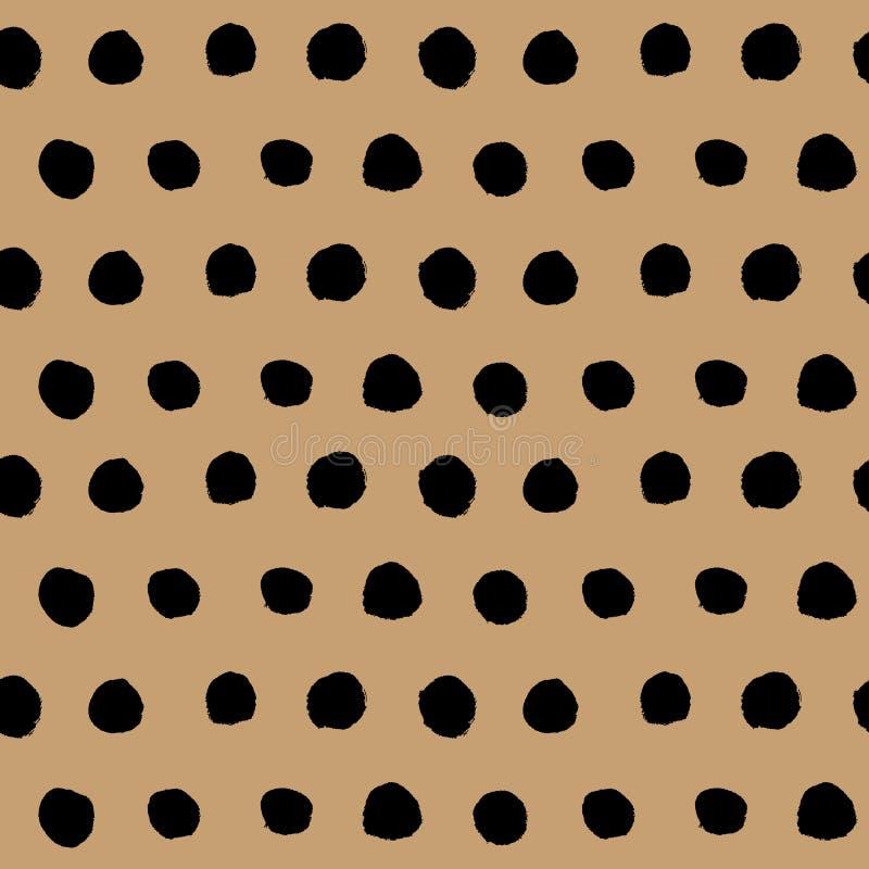 Vecteur sans couture tiré par la main noir de modèle de point de polka illustration libre de droits
