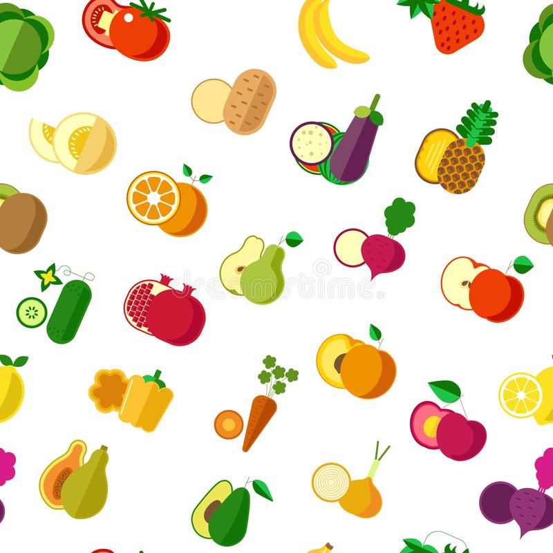 Vecteur sans couture végétarien organique de modèle de nourriture, de légumes et de fruits illustration de vecteur