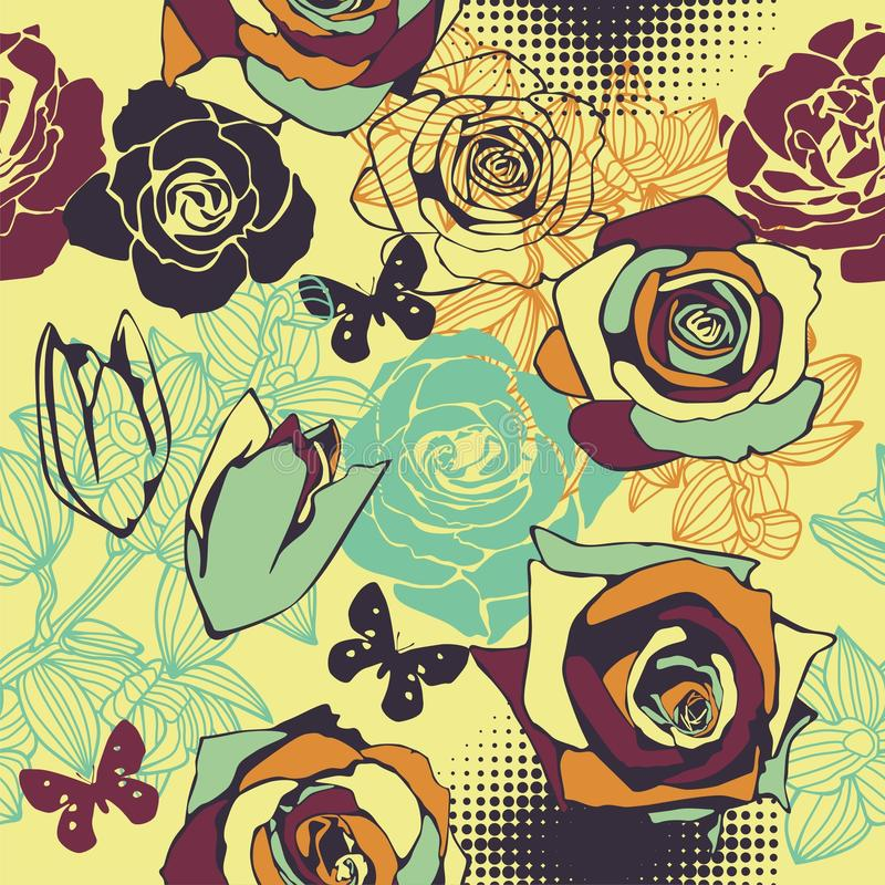 Vecteur sans joint floral illustration stock