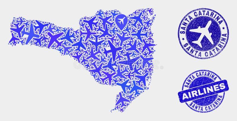 Vecteur Santa Catarina State Map de composition en aviation et timbres grunges illustration libre de droits