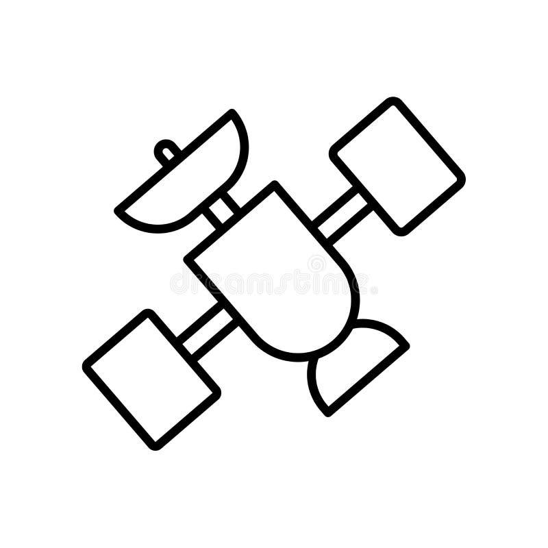 Vecteur satellite d'icône d'isolement sur le fond blanc, le signe satellite, la ligne ou le signe linéaire, conception d'élément  illustration de vecteur