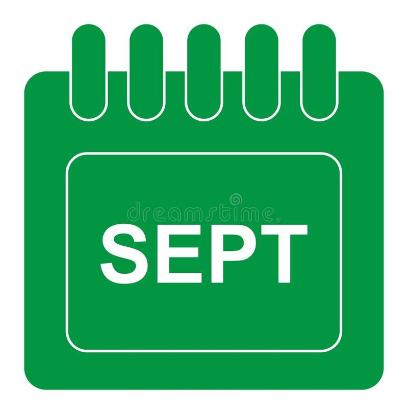 Vecteur septembre sur l'icône mensuelle de vert de calendrier illustration libre de droits