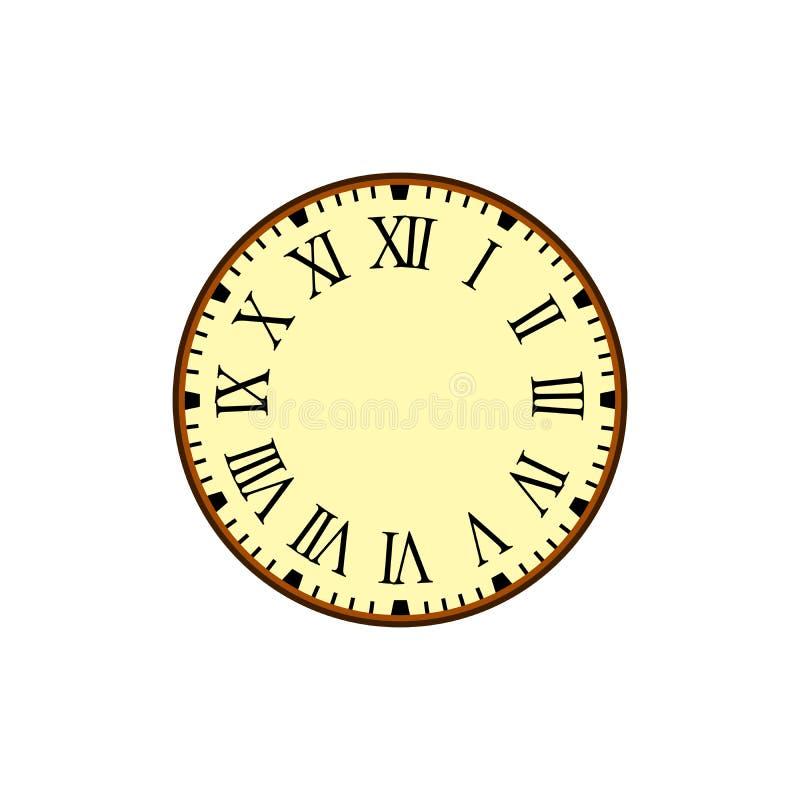 Vecteur simple d'horloge de vintage avec Roman Letters comme nombres sur le cadran illustration stock