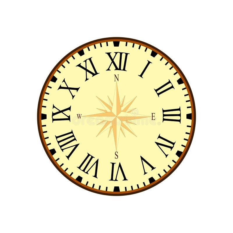 Vecteur simple d'horloge de vintage avec Roman Letters comme nombres sur le cadran illustration de vecteur