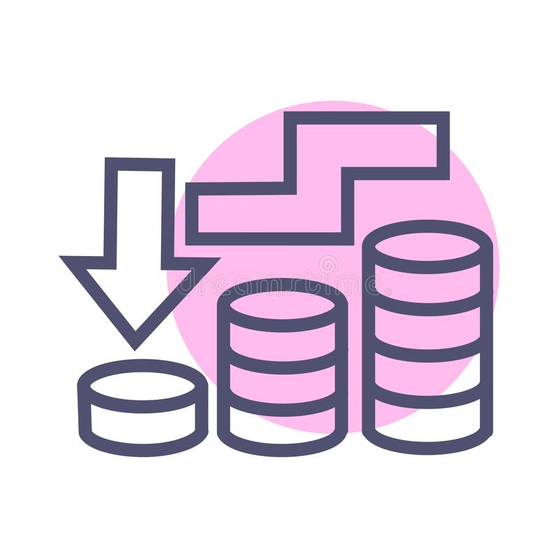 Vecteur simple d'icône de récession économique de symbole de signe de vecteur d'icône d'affaires de récession illustration stock