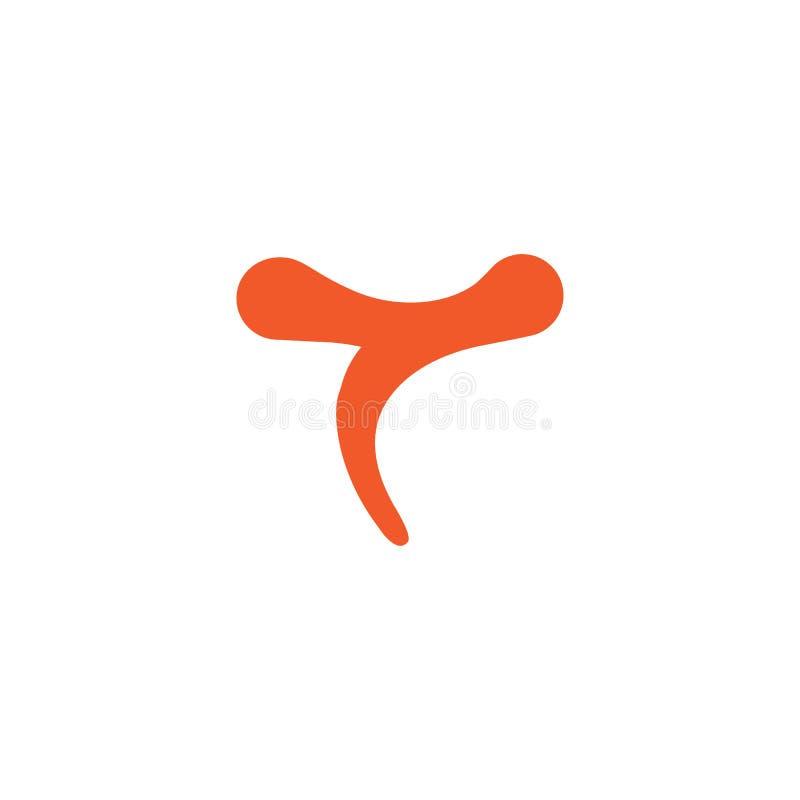 Vecteur simple de logo de courbes de la lettre t illustration libre de droits