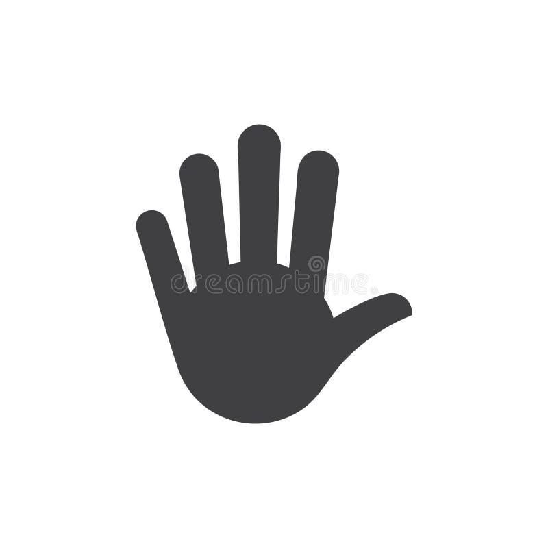 Vecteur simple de symbole d'arrêt de doigt de la main cinq illustration libre de droits