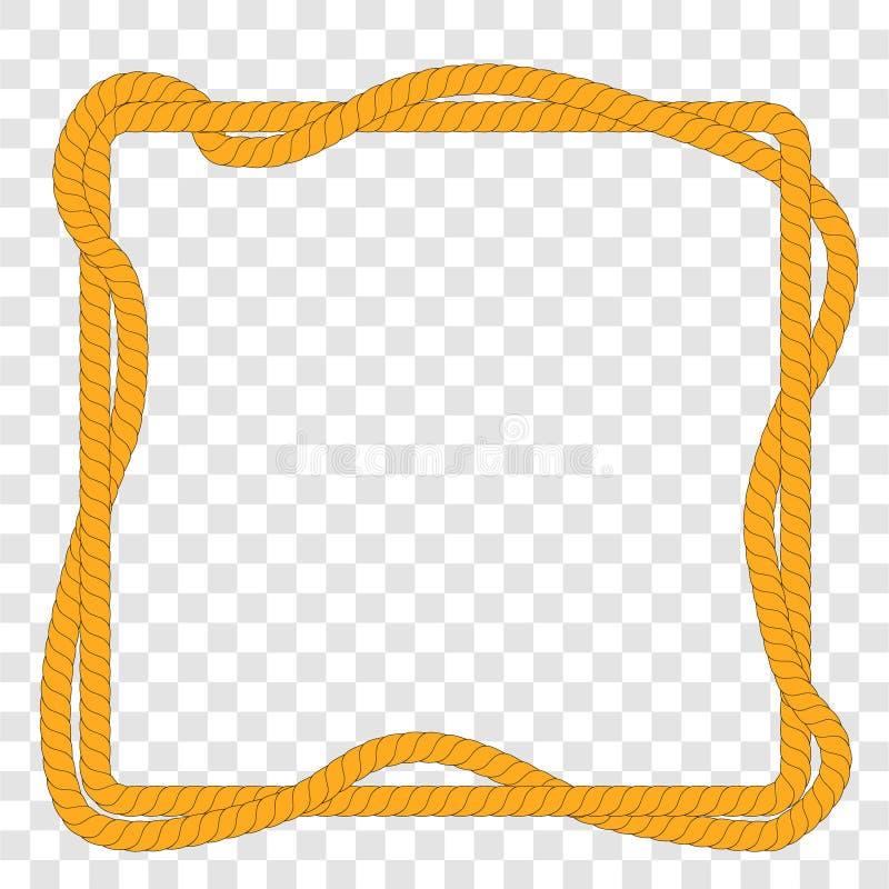 Vecteur simple, forme carrée, de corde de 2 Brown, au fond transparent d'effet illustration stock