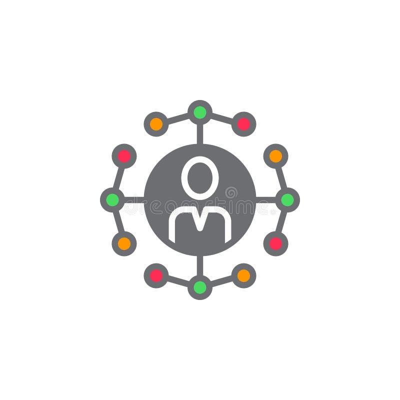 Vecteur social d'icône de connexions réseau, signe plat rempli, solide illustration stock