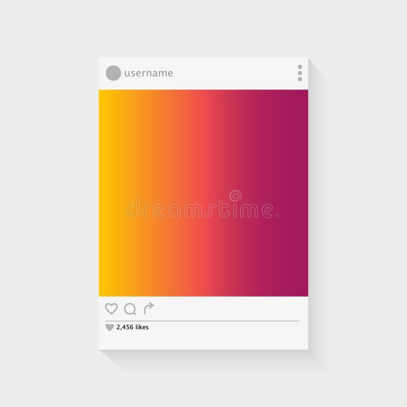 Vecteur social de concept de cadre de photo de page d'interface illustration de vecteur