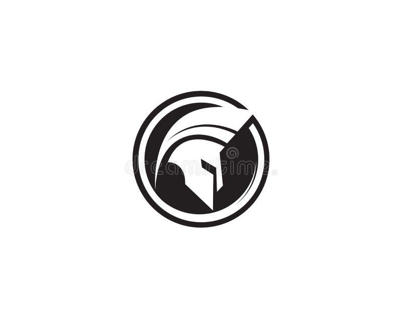 Vecteur spartiate de logo de casque illustration de vecteur