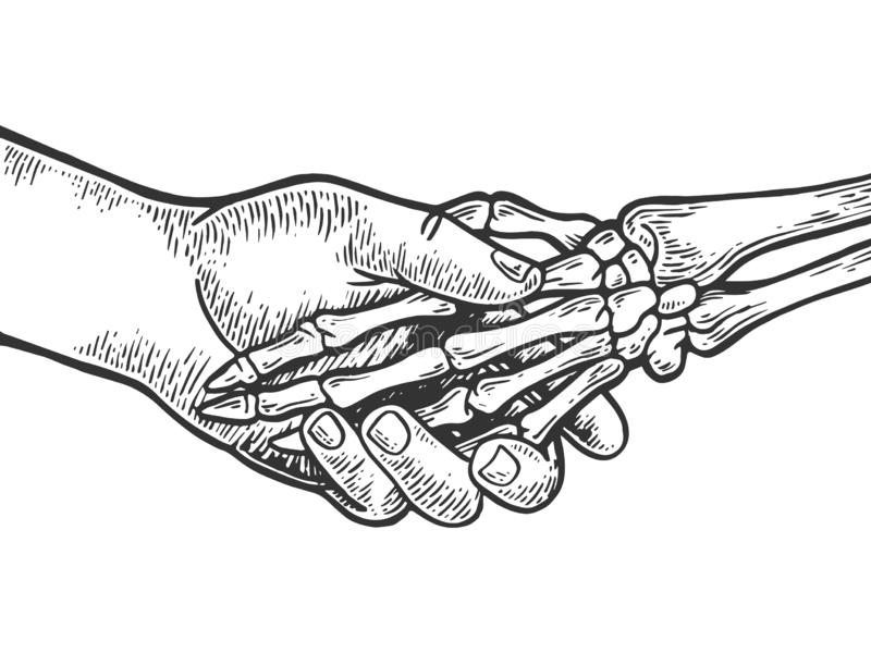 Vecteur squelettique de gravure de poignée de main de la mort illustration stock