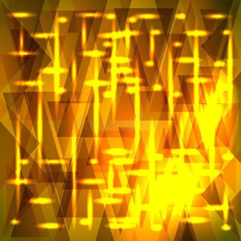 Vecteur stupéfiant le modèle d'or des tessons et des triangles avec des étoiles illustration stock
