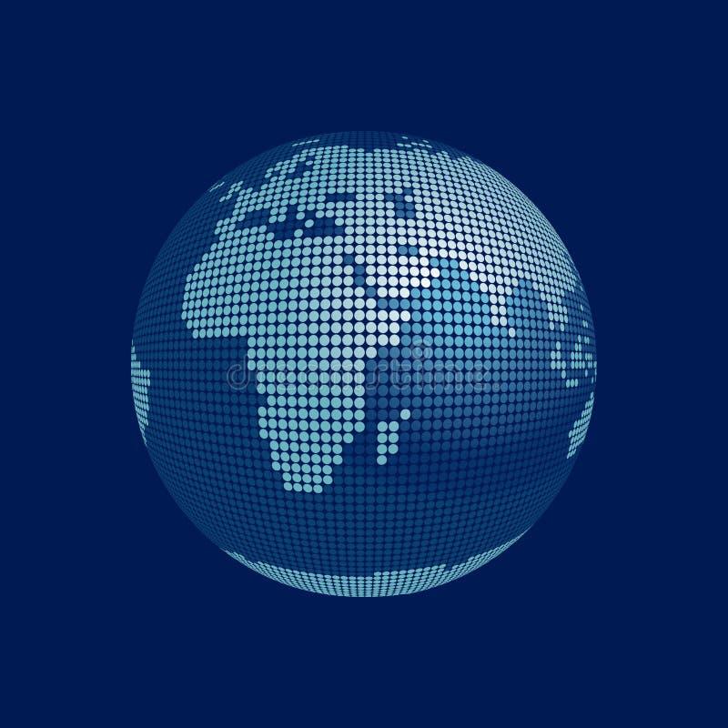 vecteur stylisé de globe de 3d Afrique l'Europe illustration de vecteur