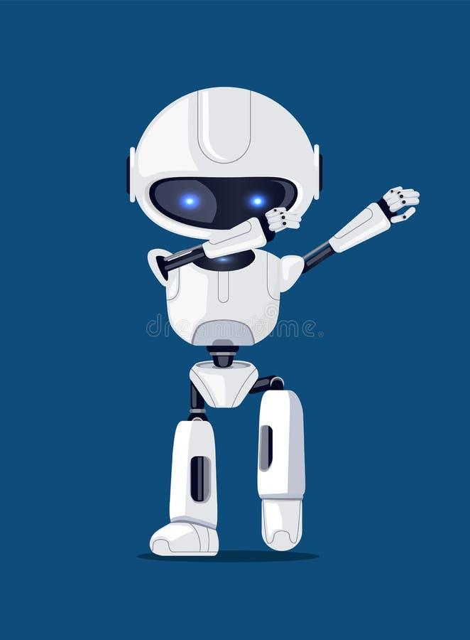Vecteur tamponnant drôle blanc Illusration de carte de robot illustration de vecteur