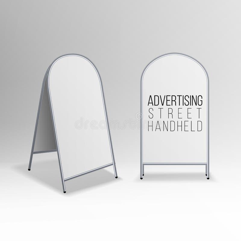 Vecteur tenu dans la main de rue vide vide de la publicité en métal Le sandwich tenu dans la main à rue vide vide ronde ovale de  illustration de vecteur