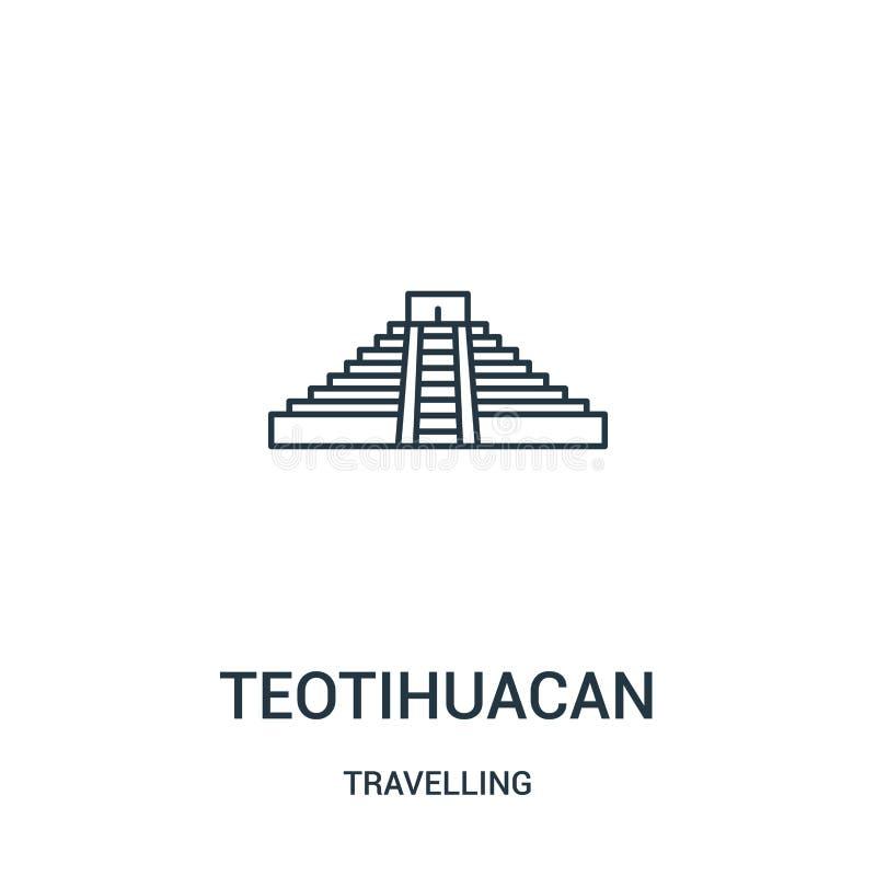 vecteur teotihuacan d'icône de la collection de déplacement Ligne mince illustration teotihuacan de vecteur d'icône d'ensemble Sy illustration stock