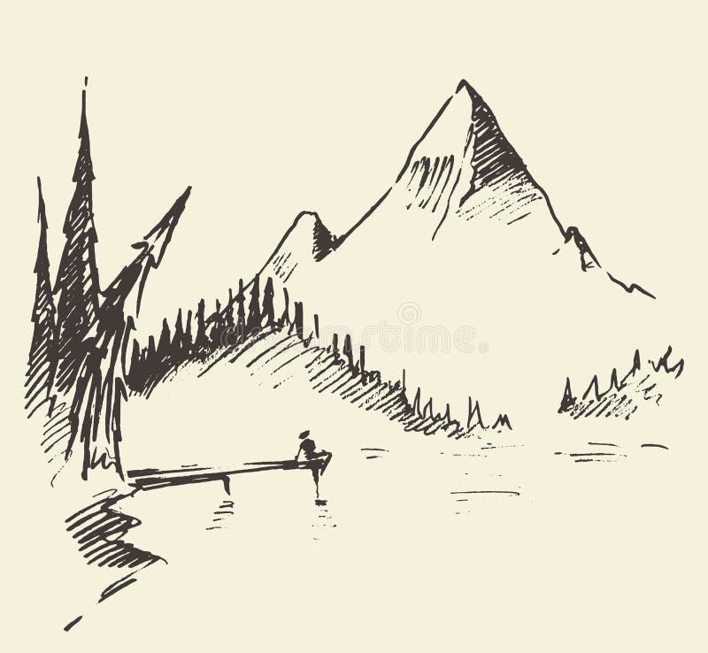 Vecteur tiré de forêt de sapin de lac de montagne de paysage illustration stock