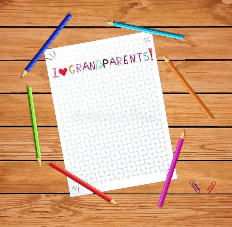 Vecteur tiré par la main coloré d'enfants marquant avec des lettres j'aime des grands-parents sur la feuille de carnet illustration libre de droits