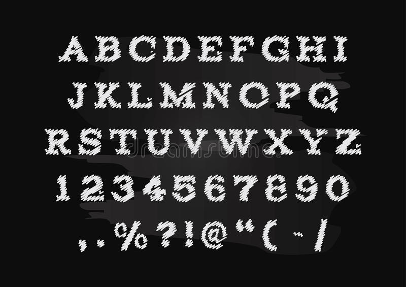 Vecteur tiré par la main d'alphabet de craie, majuscules illustration de vecteur