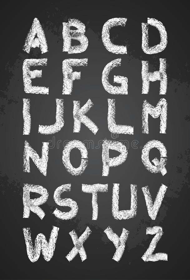 Vecteur tiré par la main d'alphabet de craie, majuscules, de nouveau à la police de craie d'école illustration libre de droits