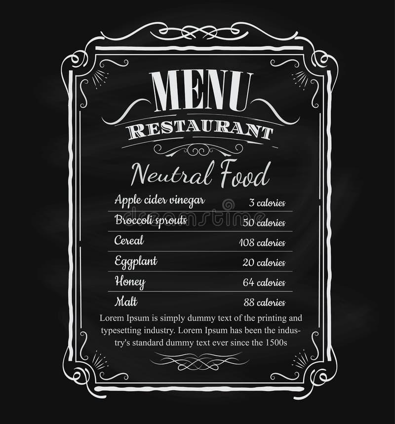 Vecteur tiré par la main de cadre de tableau noir de vintage de menu de restaurant illustration libre de droits