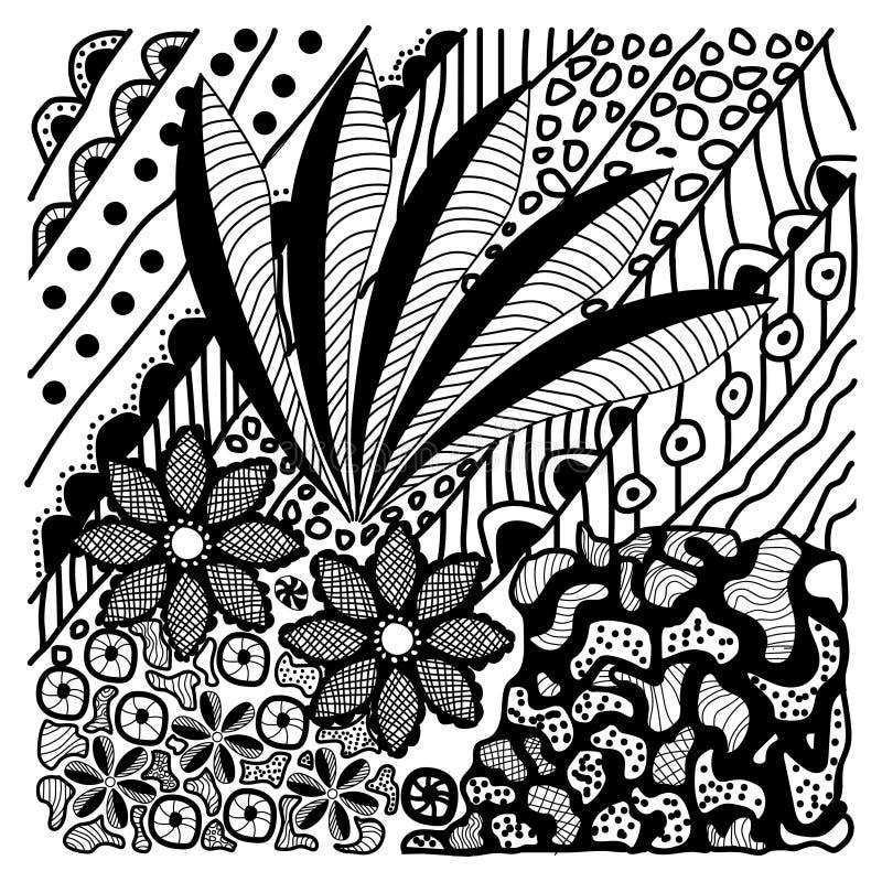Vecteur tiré par la main de conception de batik de nature illustration de vecteur
